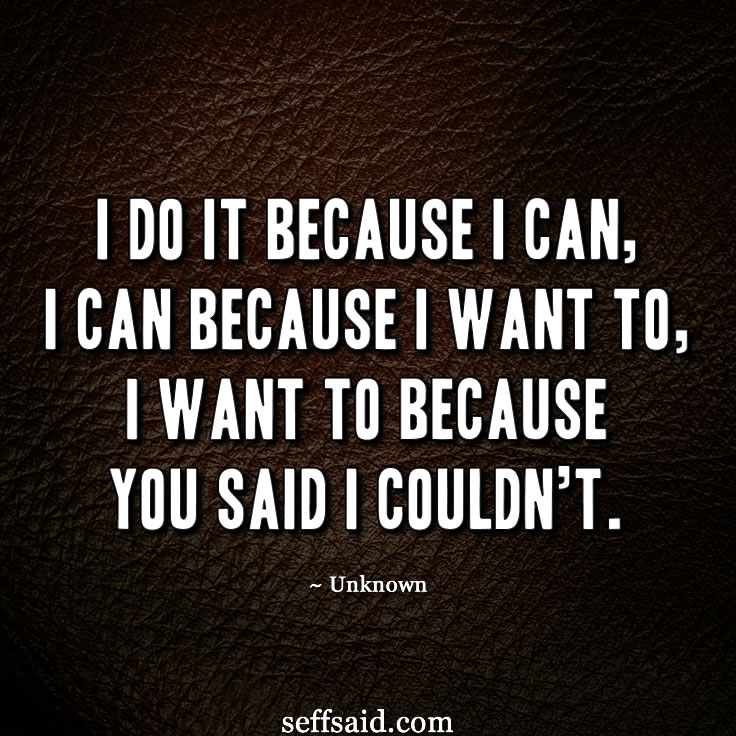 'I do it because I can, I can because I want to, I want to because you said I couldn't.' One of my favourite quotes I often read when I need to get motivated. Want more? Check out my hand picked collection of the 15 all time best quotes that have the power to inspire success at http://seffsaid.com/motivational-quotes-success/