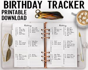 Birthday Tracker Printable
